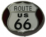 ROUTE 66 R&W Belt Buckle + display stand. Code PK6